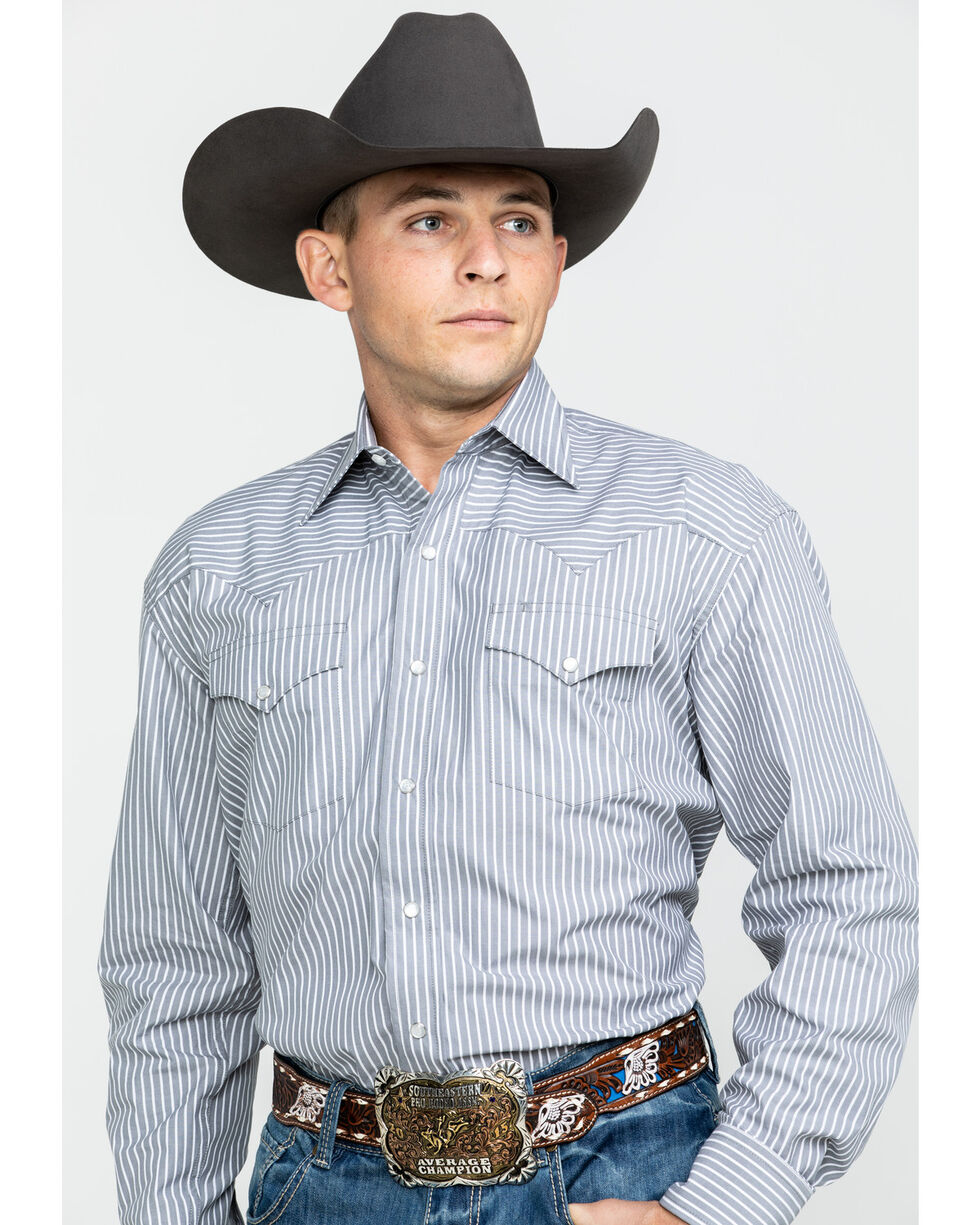 Stetson Men's Grey Two Pocket Striped Western Snap Shirt, Grey, hi-res