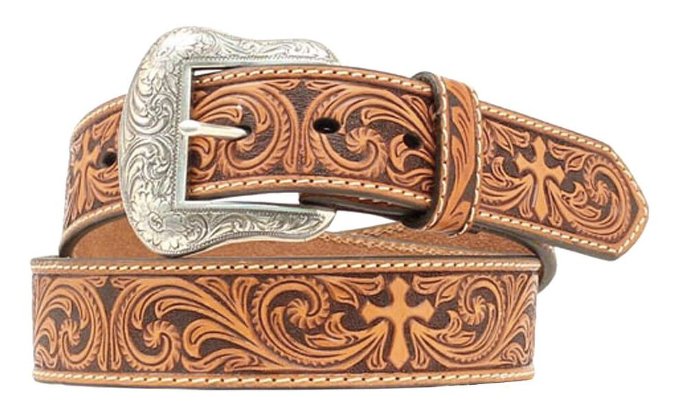 Nocona Cross Tooled Western Belt, Tan, hi-res