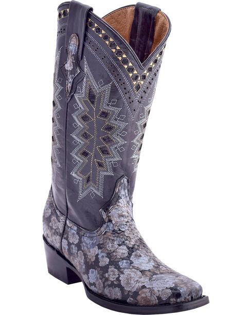 Ferrini Women's Apache Rose Western Boots - Square Toe , Black, hi-res