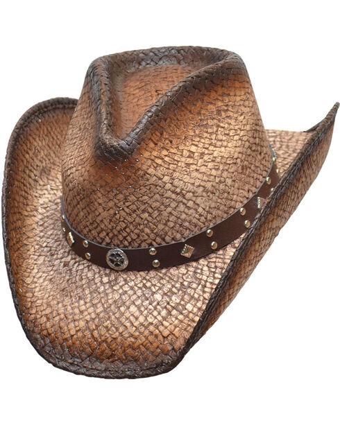 Western Express Men's Dark Brown Tupelo Straw Hat, Dark Brown, hi-res