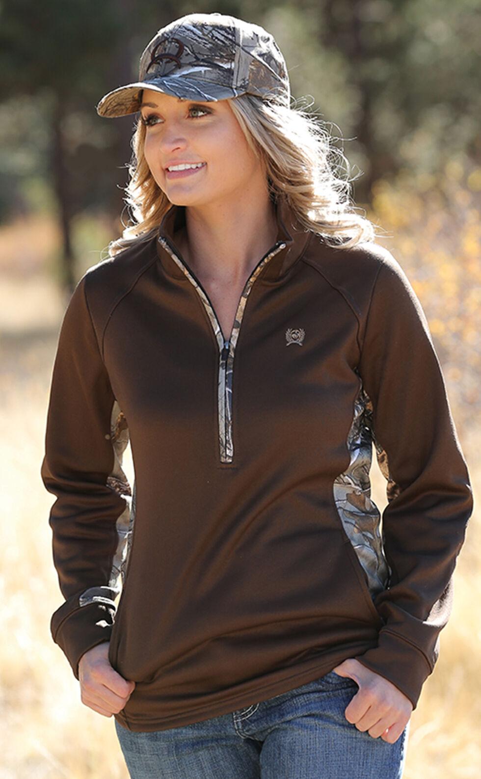 Cinch Women's Camo Brown Poly Tech Half-Zip Fleece, Brown, hi-res