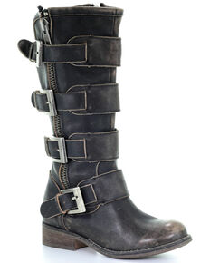 Circle G Women's Black Distressed Strap Zipper Motorcycle Boots - Round Toe, Black, hi-res