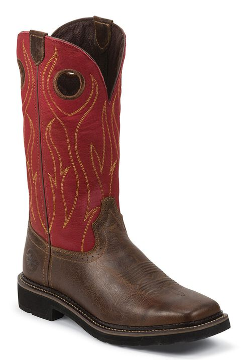 Justin Stampede Pull-On Work Boots - Square Toe, Barnwood, hi-res