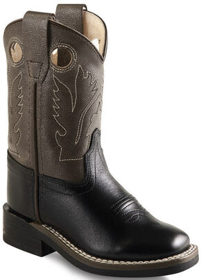 Old West Toddler Boys' Charcoal and Black Western Boots - Square Toe , Black, hi-res