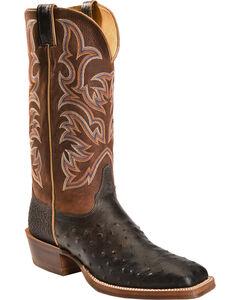 Justin AQHA Jurassic Full Quill Ostrich Cowboy Boots - Square Toe, Black, hi-res