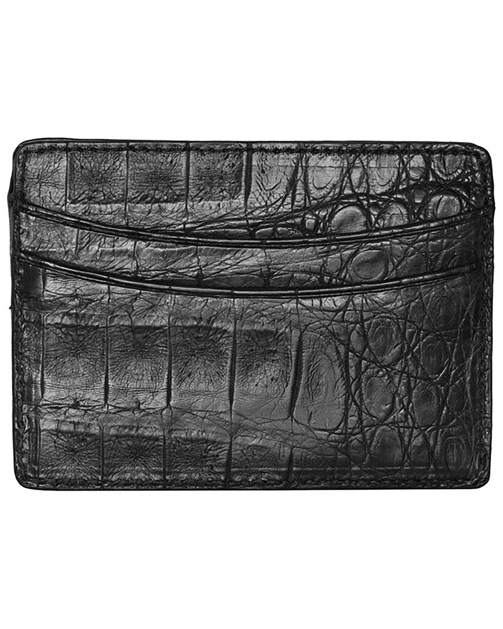 Lucchese Men's Black Crocodile Credit Card Case, Black, hi-res
