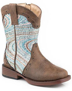 Roper Toddler Girls' Glitter Swirl Western Boots - Square Toe, Brown, hi-res