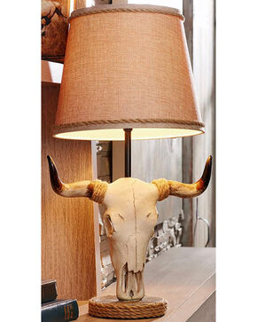 Giftcraft Polystone Bull Head Design Table Lamp, Beige/khaki, hi-res