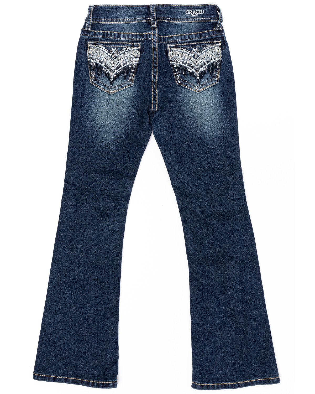 Grace in LA Girls Blue Heavy Stitched Jeans Boot Cut