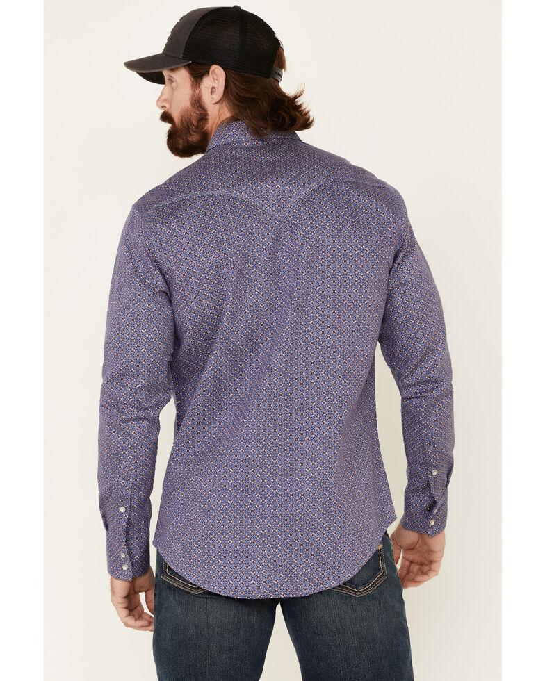 Rock & Roll Denim Men's FR Blue Geo Print Long Sleeve Work Shirt , Blue, hi-res