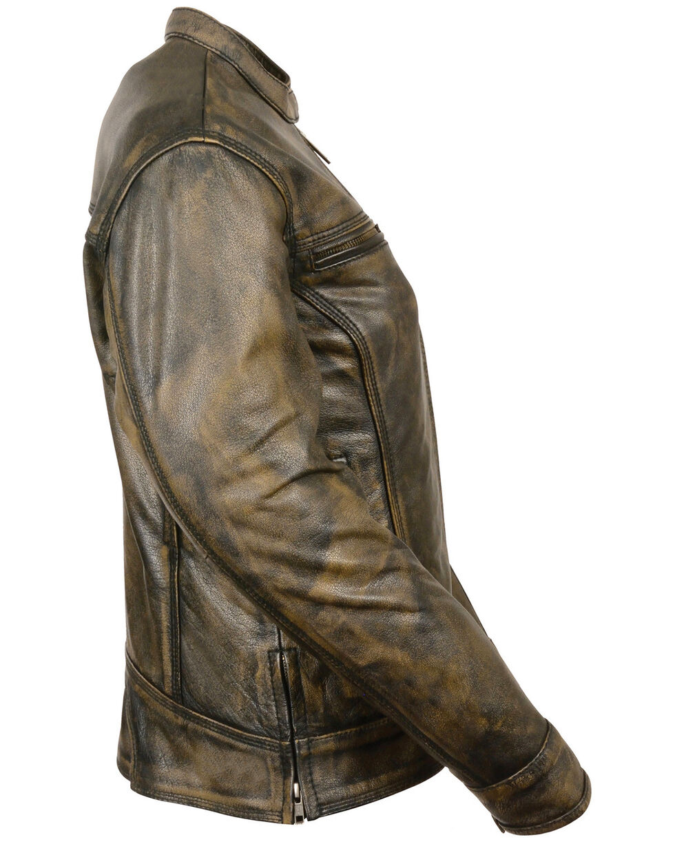 Milwaukee Leather Women's Brown Distressed Vented Scooter Jacket - 5X, , hi-res