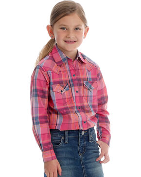 Wranlger Girls' Pink Plaid Long Sleeve Shirt, Pink, hi-res
