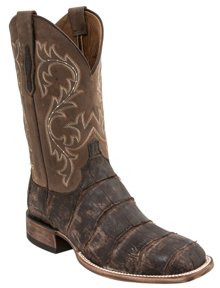Lucchese Men's Handmade Malcolm Alligator Western Boots - Square Toe, Chocolate, hi-res