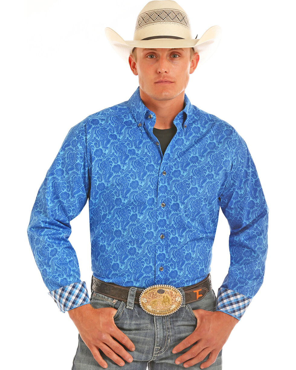 Tuf Cooper Performance Men's Competition Fit Paisley Print Shirt, Blue, hi-res