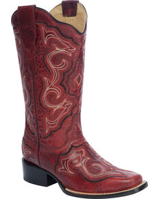 Corral Embroidered Scalloped Top Cowgirl Boots - Square Toe, Red, hi-res