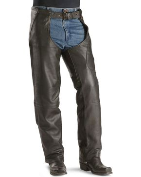 Milwaukee Motorcycle Gunslinger Leather Chaps, Black, hi-res