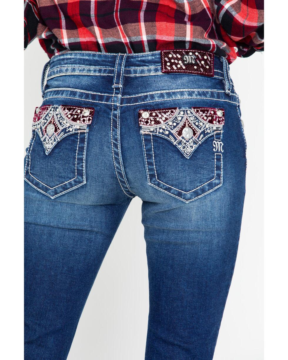 Miss Me Women's Velvet Aztec Embroidered Pocket Dark Boot Jeans , Blue, hi-res