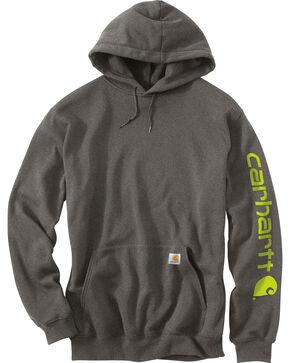 Carhartt Men's Midweight Hooded Logo Sweatshirt - Tall , Charcoal, hi-res