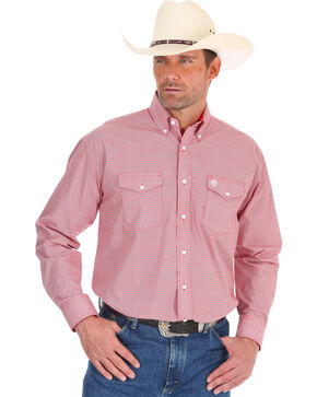 Wrangler Men's George Strait Red Diamond Print Shirt , Red, hi-res