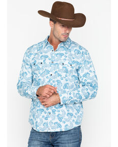 f1d3d2618b2d3 Cody James Mens Hootenanny Paisley Plaid Long Sleeve Western Shirt