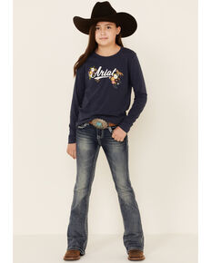 Grace In LA Girls' Sequins Scroll Embellished Pocket Bootcut Jeans, Blue, hi-res