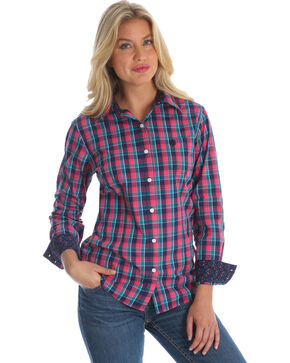 Wrangler Women's Pink George Strait Plaid Western Shirt , Multi, hi-res