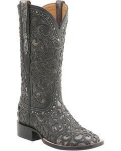 Lucchese Women's Sierra Lasercut Western Boots - Square Toe , Black, hi-res