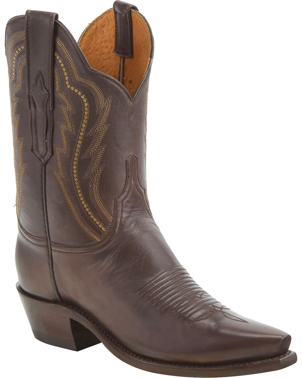 Lucchese Women's Handmade Hattie Chocolate Goat Leather Short Western Boots - Snip Toe, Chocolate, hi-res