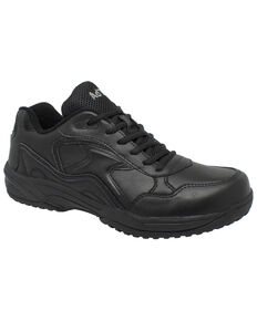 Ad Tec Men's Athletic Black Uniform Work Shoes - Round Toe, Black, hi-res