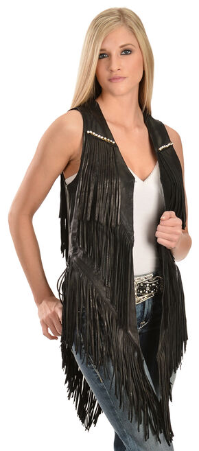 Kobler Leather Women's Yucaipa Fringe & Rhinestone Leather Vest, Black, hi-res