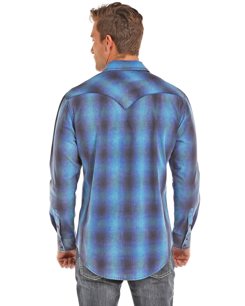 Rock & Roll Denim Men's Ombre Plaid Yarn Dye Long Sleeve Shirt , Light Blue, hi-res