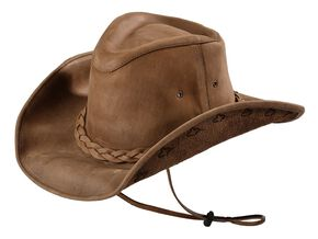 Bullhide Men's Melbourne Leather Hat, Bronze, hi-res