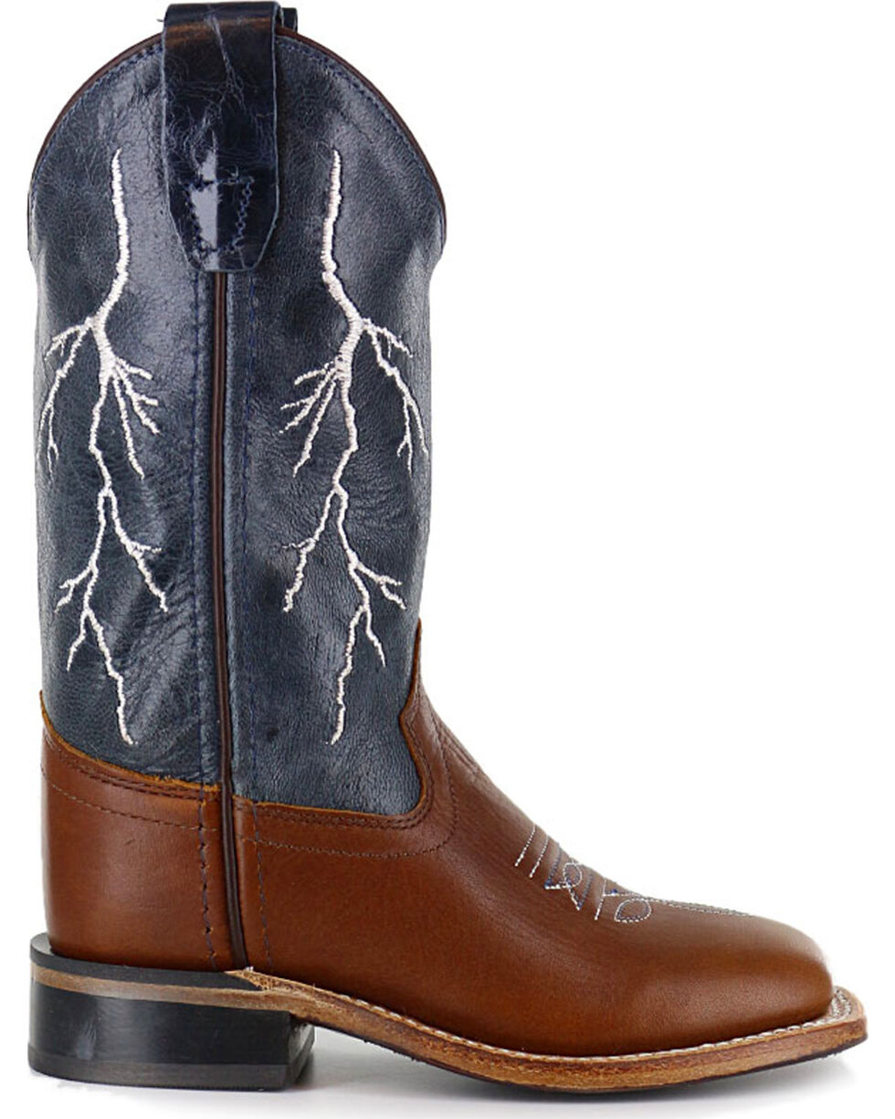 Cody James Boys' Brown Lightening Embroidered Western Boots - Square Toe , Brown, hi-res