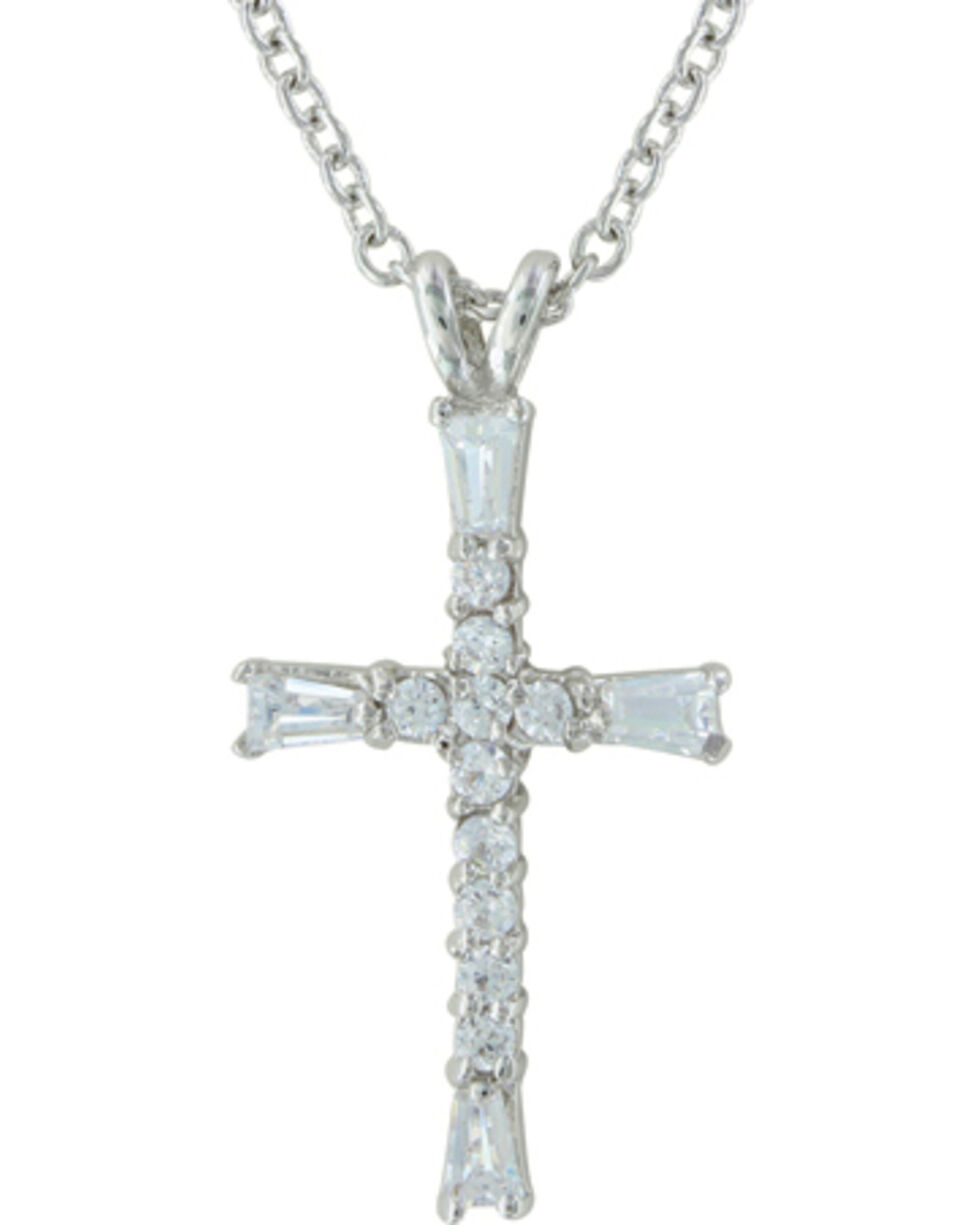 Montana Silversmiths Radiant Faith Cross Necklace, Silver, hi-res