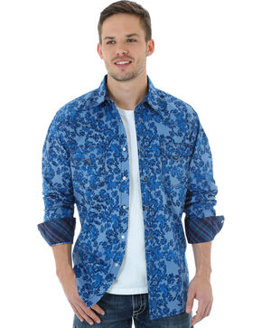 Wrangler 20X Men's Floral Chambray Shirt, Light Blue, hi-res