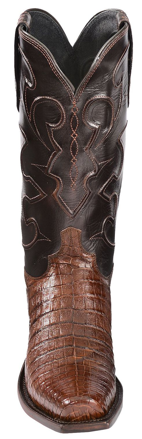 Lucchese Handcrafted 1883 Croc Belly Cowboy Boots - Snoot Toe, Sienna, hi-res