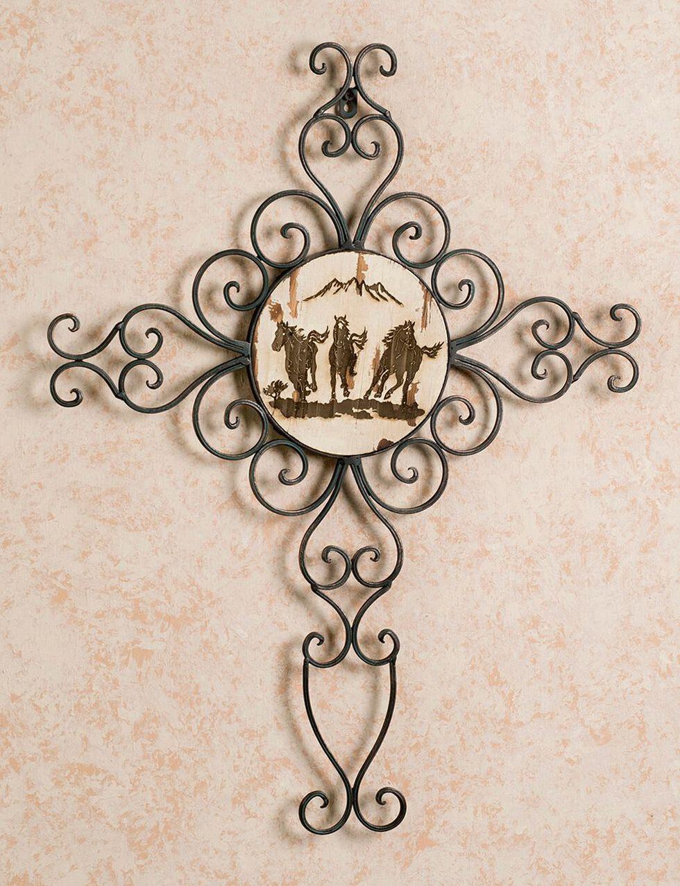 Running Horses Metal Wall Cross, Brown, hi-res