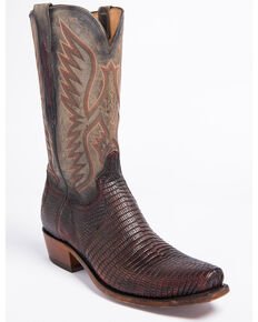 Lucchese Men's Handmade Miles Brown Lizard Western Boots - Square Toe, Brown, hi-res