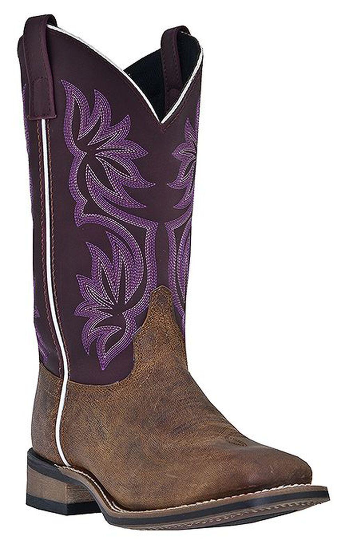 Laredo Fancy Stitched Purple Cowgirl Boots - Square Toe, Tan, hi-res