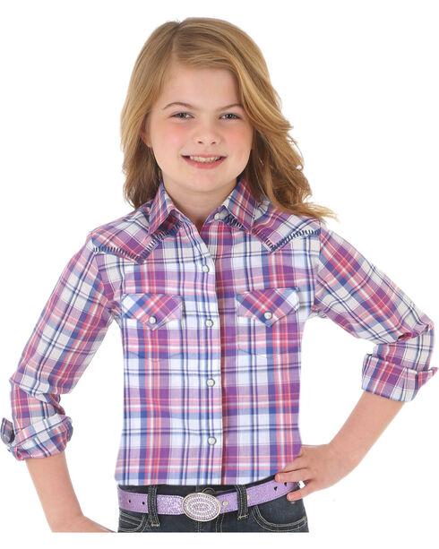 Wrangler Girls' Purple Plaid Western Snap Down Shirt , , hi-res
