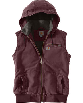 Carhartt Women's Weathered Duck Wildwood Vest, Wine, hi-res