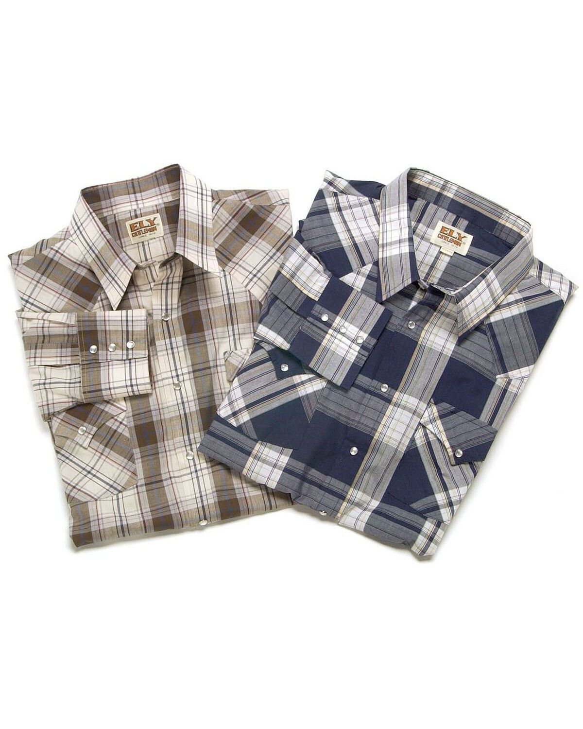 Ely Cattleman Men/'s Assorted Plaid And Stripe Long Sleeve Western Shirts Big