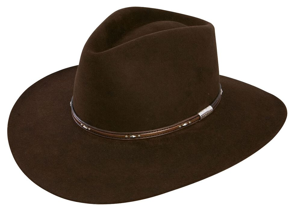 18270f3e43b94a Zoomed Image Stetson 5X Pawnee Fur Felt Cowboy Hat, Chocolate, hi-res