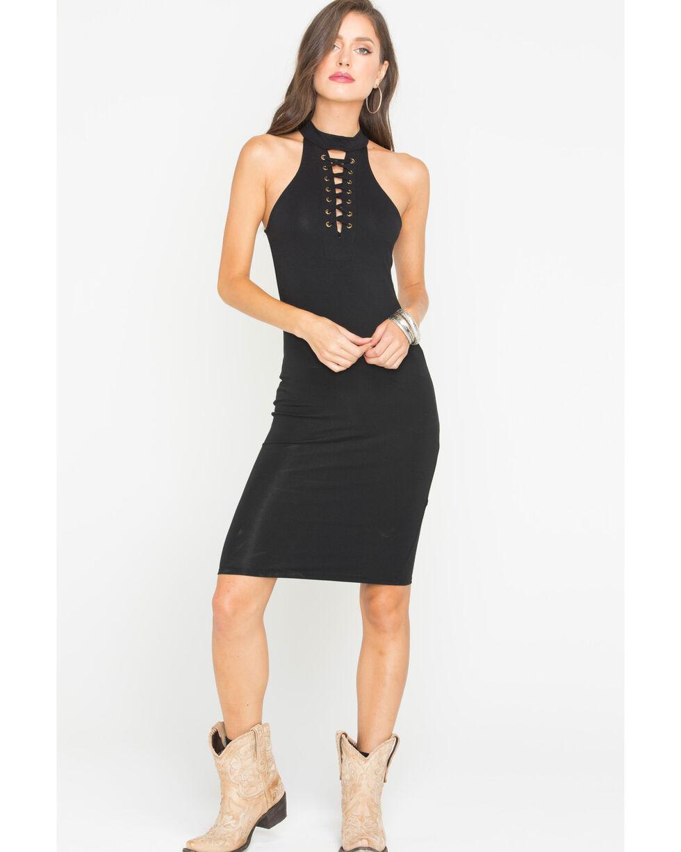 Panhandle Women's Halter Front Lace Up Dress, Black, hi-res
