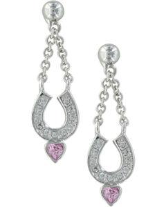 Montana Silversmiths Women's Silver Balanced in Love Horseshoe Earring, Silver, hi-res
