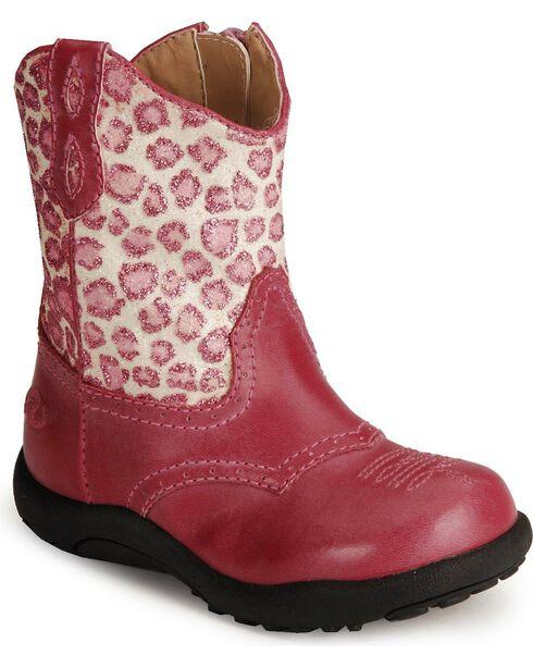 Roper Infant Girls' Leopard Print Pink Cowboy Boots - Round Toe, Pink, hi-res