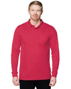 Tri-Mountain Men's Red Vital Pocket Long Sleeve Polo Shirt, Red, hi-res