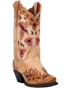 0d7ebbc31db0 Dan Post Womens Bone Hummingbird Wingtip Cowgirl Boots - Snip Toe