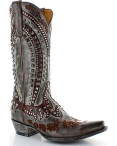Old Gringo Women's Kress Studded Cowgirl Boots - Snip Toe , Chocolate, hi-res