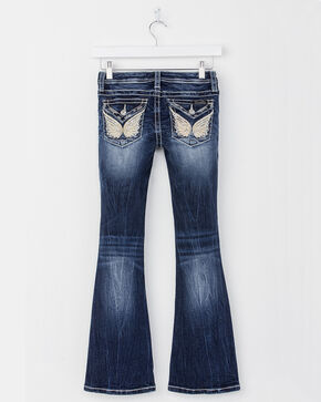 Miss Me Girls' Blue Butterfly Flap Jeans - Boot Cut , Blue, hi-res